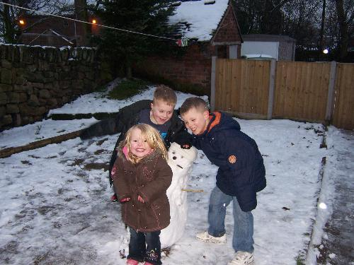First ever snowman - The first snowman that my kids have ever made!!