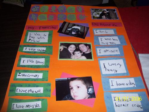 My Sons About Me poster - This is the poster he made for student of the week, I think he did an awsome job!