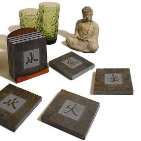 Earth, Fire, Wind, Water - Tablets with the Chinese symbols for Earth, Fire, Wind, and Water written.