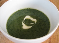 Stinging nettle soup - stinging nettles in a soup