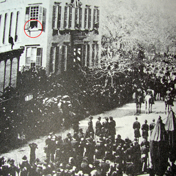 Lincoln's funeral going past Roosevelt in house wi - Lincoln's funeral going past Roosevelt in house window
