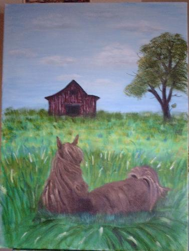 My painting - Horse in a field.