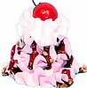 What type of ice cream you like most? What flavour - ice cream photo which has strawberry and chocolate syrup around it. it also has a cherry on it.