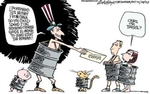 Stimulus Package Satire - Uncle Sam hands money to US citizens who ask an embarassing question.