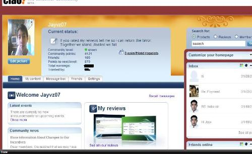 a page on ciao - here you can see the interface of a page from ciao