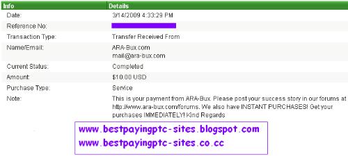 Ara-bux - Payment from Ara-bux