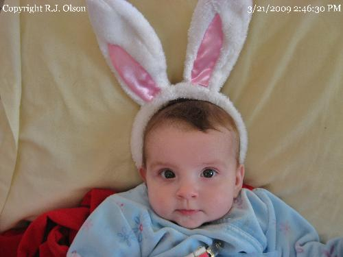 Easter Bunny Ears - Savanna, my grand duaghter, in her newly bought Bunny Ears.