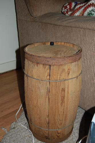 Barrel Table - An old wooden barrel made into an end table!