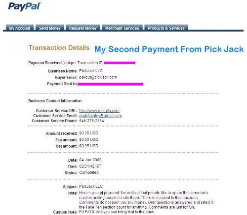 PickJack Pays!!! - PickJack Payment Proof
