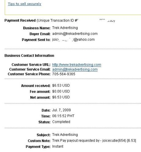My Second Trek Payment - $6.53 in 1 week, no upgrading, no fees, no mess absolutely free to join