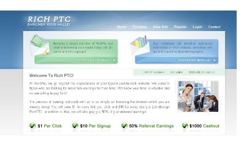 rich ptc - $1000 payout - rich ptc pays $1 for each click and has a payout limit of $1000.but is the site turning scam?