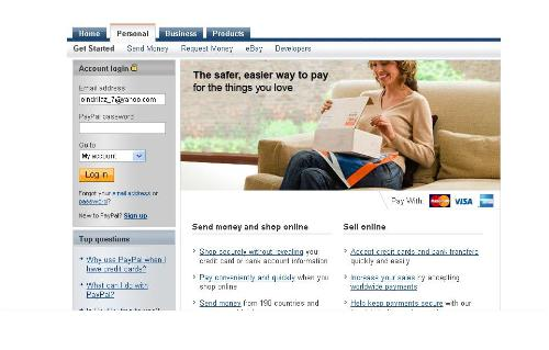 Paypal Homepage - Paypal allows money transfer throughout the globe.