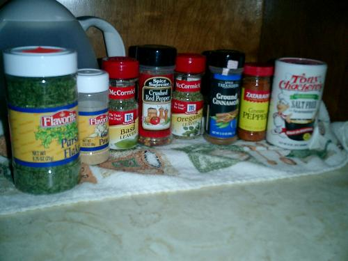spices - A picture from my just beginning to stock up on spices shelf!