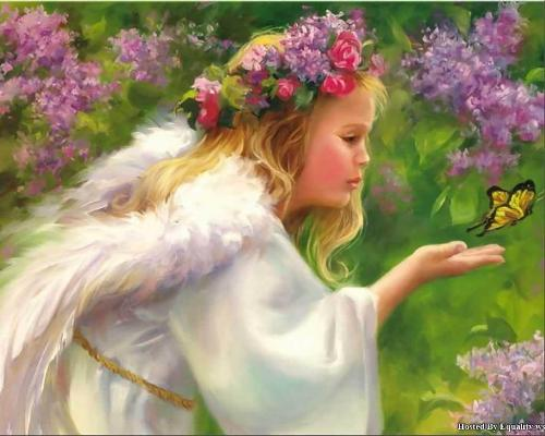 Easy life - fairy, cute girl looking at flower.