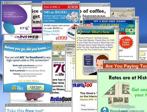 Pop up advertisements - A collection of pop up ads that cover the page