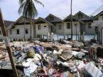 natural disaster - housing hit by a tsunami