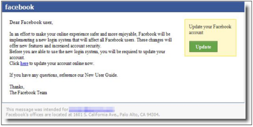 Facebook Phishing Scam Screen Shot - Latest phishing scam involving Facebook