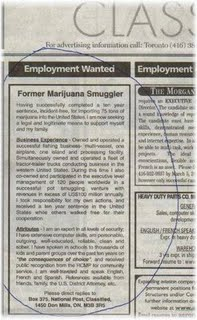 best resume placed in classifeieds - this is the resume of a smuggler who has placed an advert for a job in any export and import company.