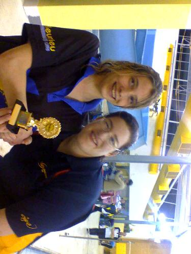 swimming medal - Here is a photo of my daughter getting a swimming medal. She is the one on the left.