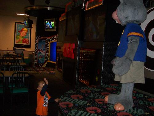 My 3 Year Old Son Waving To Chuck E Cheese - My 3 year old son waving to Chuck E Cheese on his 3rd birthday, Nov 16, 2009.