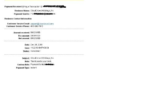 payment proof - I got my first payment today! :)