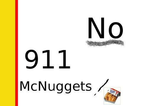 McNuggets, McDouble, 911? - When you are unhappy with McDonalds restaurant and or their service, calling 9-1-1 is not the answer.