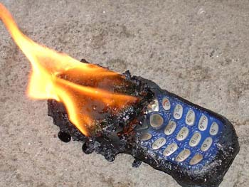 cell phone catches fire. - We can see in the picture that the cell phone has caught fire. This is possible when it is charged by high voltage supply or if in case of adapter failure.