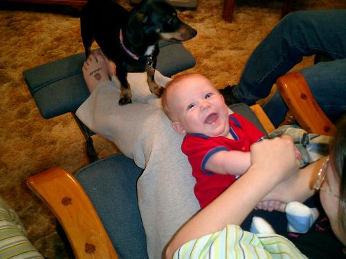 Grandson laughing - Eli laughing at Ronella singing the wheels on the bus!