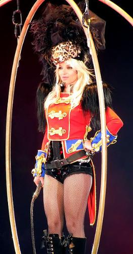 The Circus Tour - here is the entrance of Britney Spears, She descended from the top of the venue and all eyes were really on her in the center of the ring just like a circus.. :) Can't wait for her next album.. :)