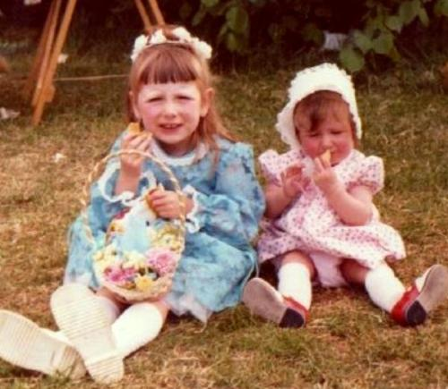 My kids in their home made clothes  - At this time ( 1975) I made all my kid's clothes