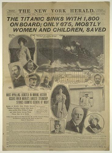 titanic disaster - This is a newspaper report of the sinking of the titanic