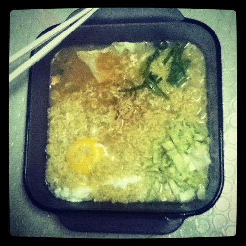 Our yummy Ramen! - My first time to put some veggies on our plain instant noodles. And it taste really delicious...