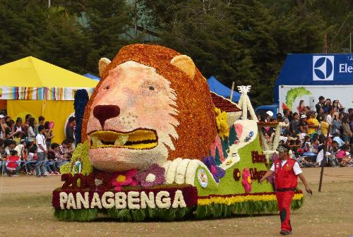 """Panagbenga_Flower_Festival_Float_Parade - This is the """"Panagbenga"""" Flower Festival in Baguio City, Philippines, where the different provinces, namely, Kalinga, Apayao, Bontoc, Ifugao, and Benguet, create parade floats designs with purely flowers.   The Best Original and Creative float would win. This picture was taken by Engr. Paul Massilem of Baguio City."""