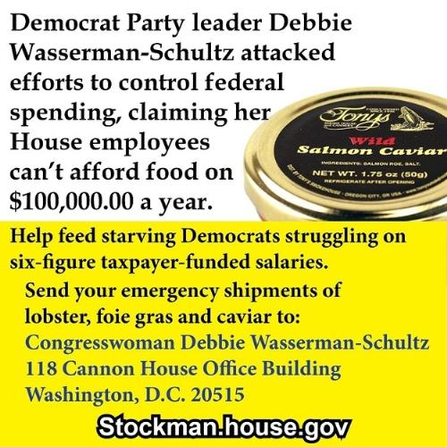 Feed the starving democrats - DC staffers are starving, unable to feed themselves with their 6 figure, taxpayer funded salaries.