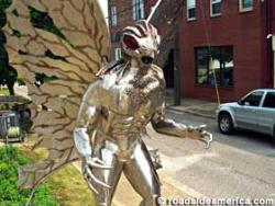 This is an actual snap of the statue in our town s - This large metal statue stands in the center of our square..People from many places come to point pleasant to learn of the legend/tale of the mothman..  I am not a native of west virginia; but many calim that the store is true and worhty of belief..and many are christians...who hold this story.