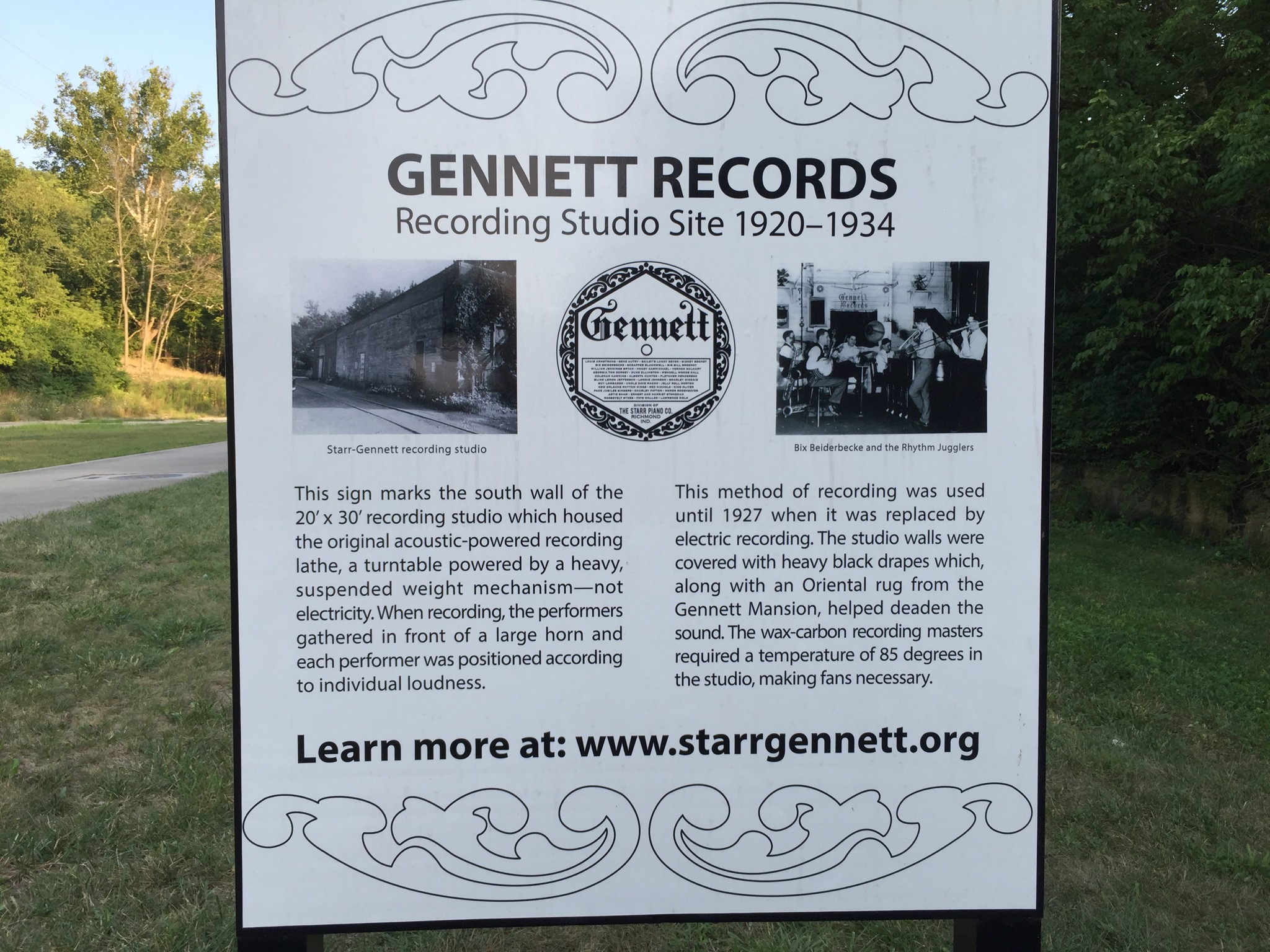 A sign marking the site of the old Gennett Recording Studio in Richmond, Indiana.  Photo taken by and the property of FourWalls.