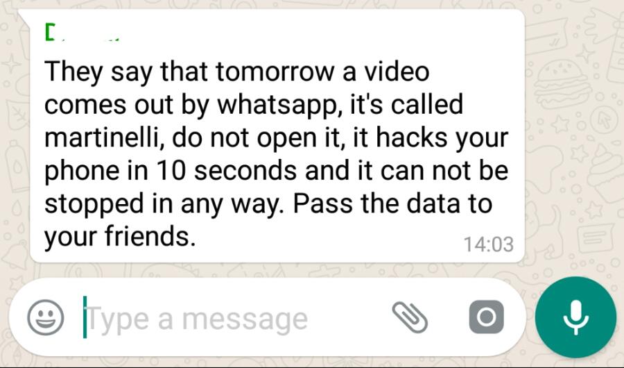 Martinelli video virus hoax on WhatsApp  / myLot