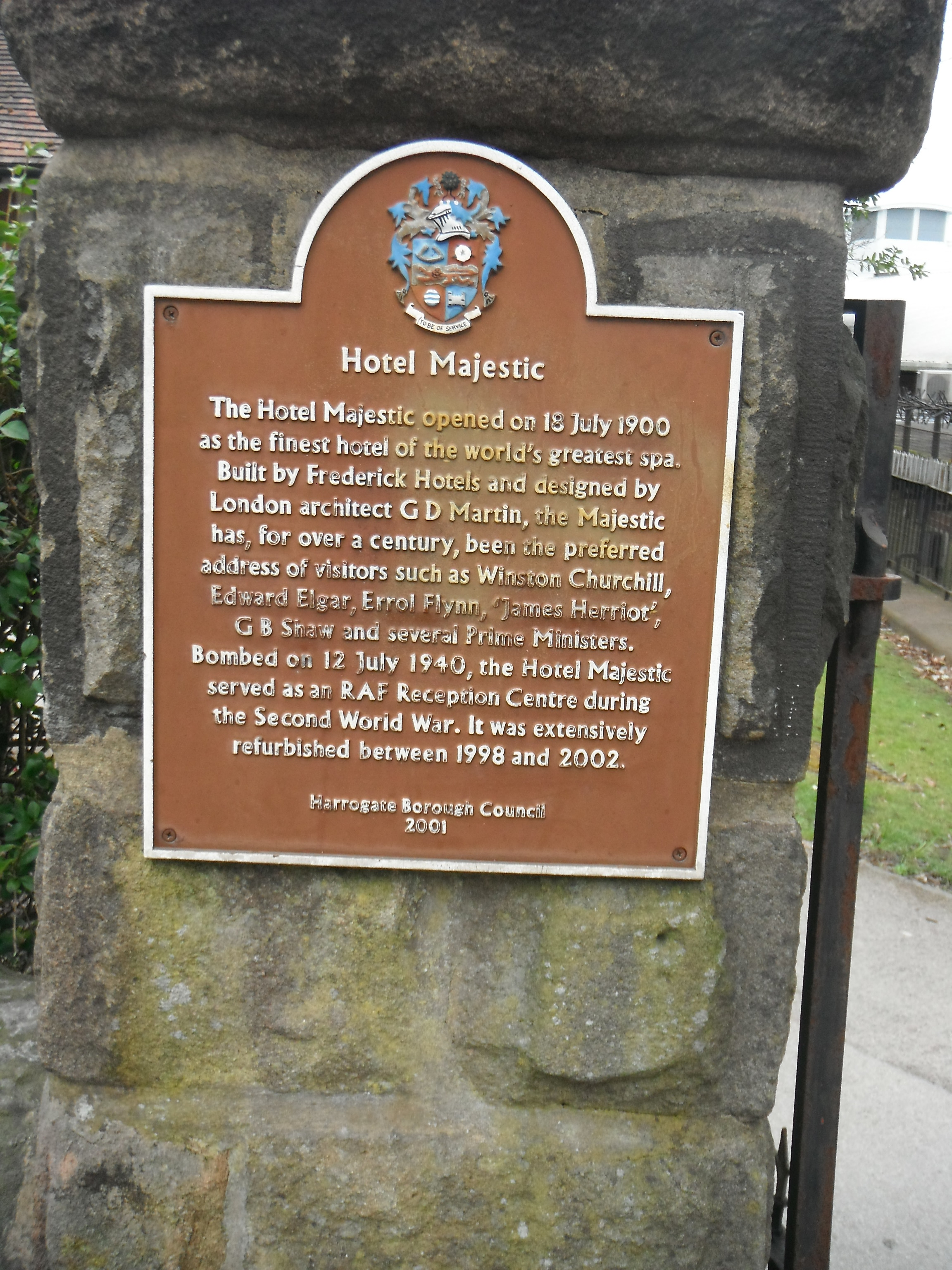 Photo taken by me – plaque on the entrance gates to The Majestic Hotel, Harrogate