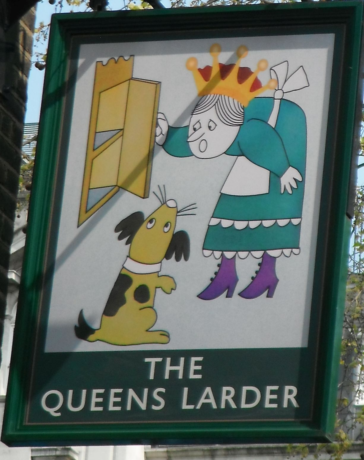 Photo taken by me – pub sign for  The Queens Larder Queen Square London