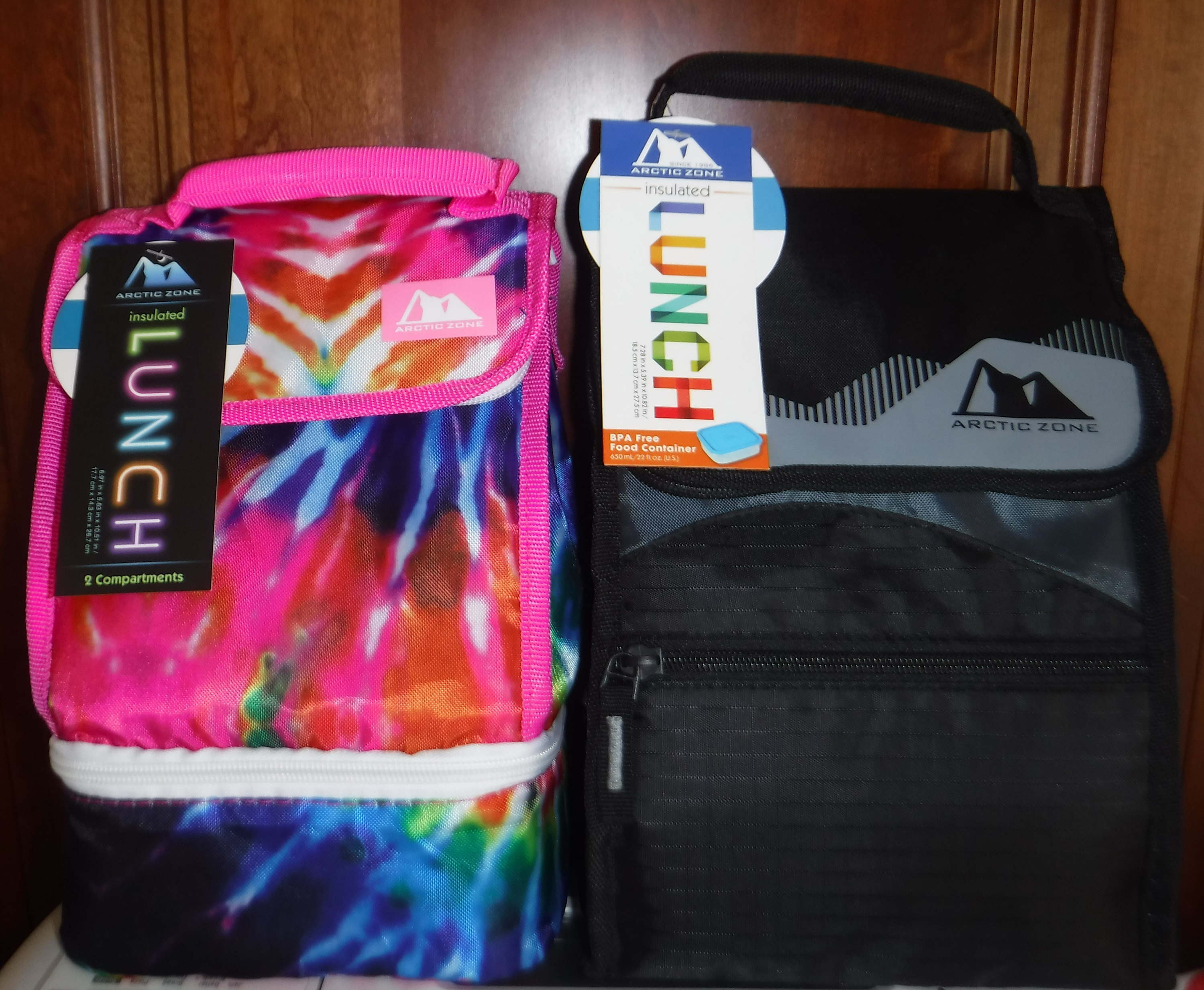Photo I took of the two lunch bags I hope to sell on ebay
