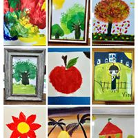 Some of the paintings children with special needs showcased during the event.
