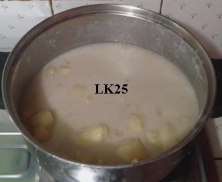 cassava, dessert, coconut milk