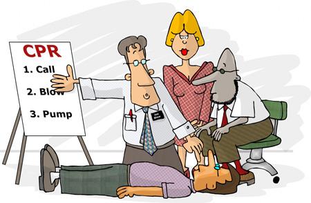CPR Cartoon -  first aid