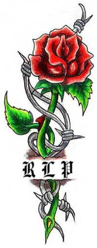 This is the tattoo I am going to get. - Its a red rose with barbwire and my son's initials, except when i get it done the rose will be blue.