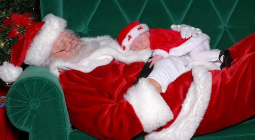 santa and baby - santa and baby sleeping