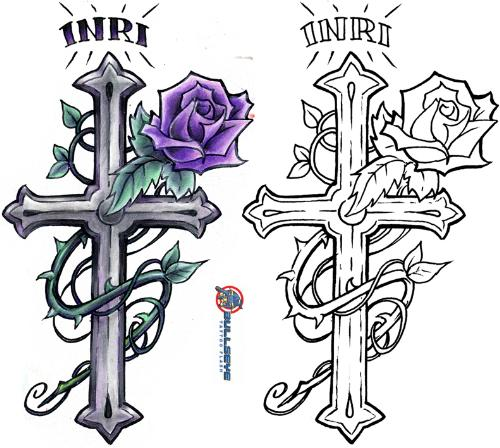 crosses - Jesus died on the cross for our sins, this is a tatoo of a cross that my wife is thinking about getting.