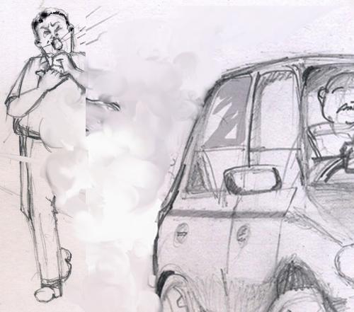 A drawing depicting the effects of emission. - Its a pencil drawing done exclusively for this discussion