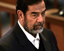 Saddam - This is a picture of Saddam in court.