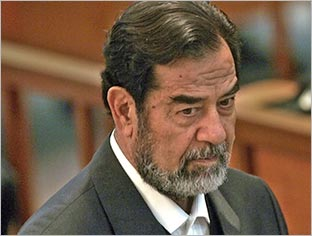 Saddam Hussein to be hung - Iraqi tyrant Saddam Hussein in court. He has been sentenced to die by hanging.