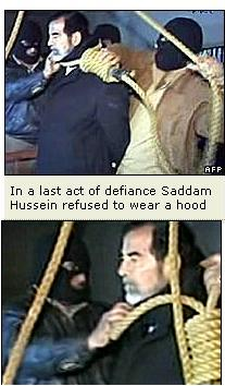 images of saddam hussain's execution - Ropes are being put around Saddam's neck, and he has refused to wear a hood while being executed.